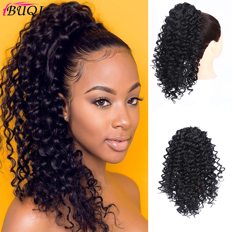 BUQI Long Afro Kinky Drawstring 12'' Synthetic Clip In Warp Ponytail Hair Extension Ponytail African American Bun