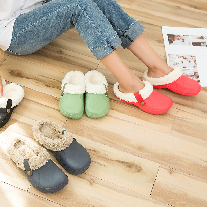 Winter Warm Slippers Men Indoor Shoes Cotton Pantoffels Casual Crocus Clogs With Fur Fleece Lining House Floor Slippers ME526 6