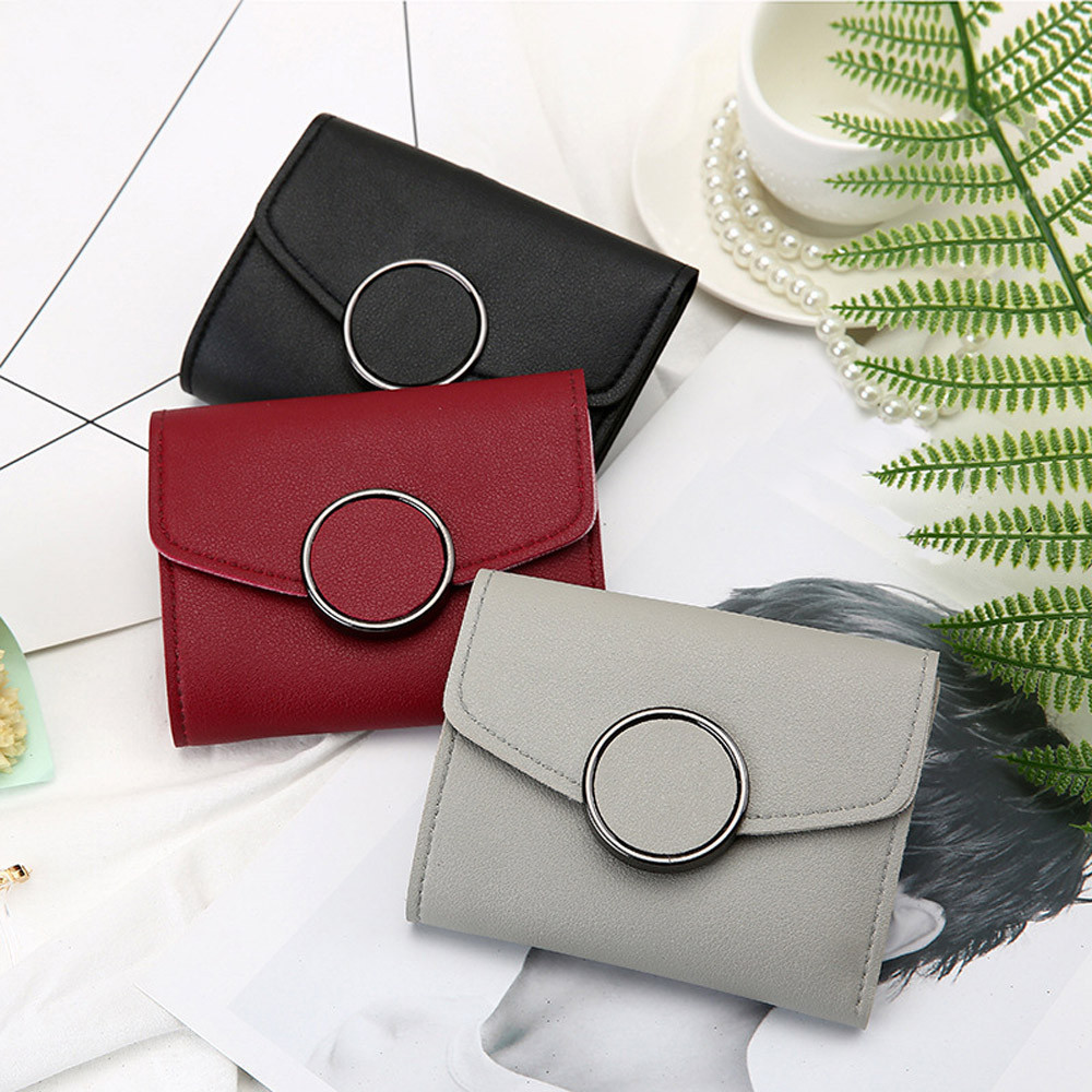 Sleeper #P501 2019 FASHION Women's Simple Round Hasp Short Wallet Card Holder Billfold Purse Free Shipping