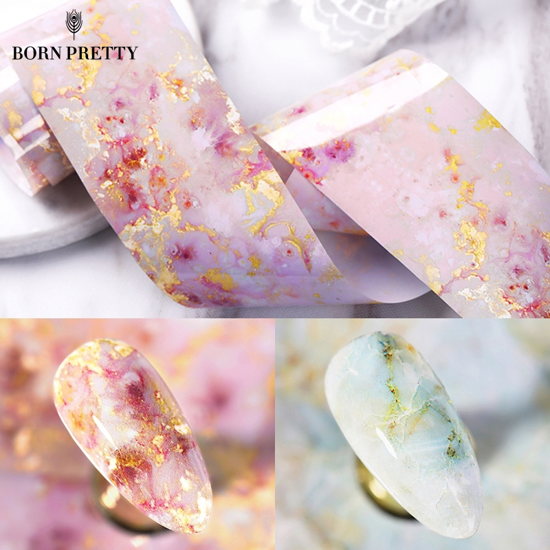 100/50x4cm Nail Foils Marble Series Pink Blue Foils Paper Nail Art Transfer Sticker Slide Nail Art Decal Nails Accessories 1 Box