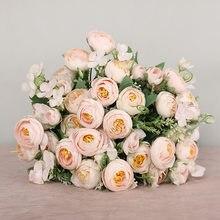 Roses Artificielles En Soie, 10 Fleurs Artificielles de Haute qualité, pour un mariage, bleu, Avec Tige
