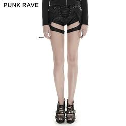 Женские шорты из искусственной кожи в стиле панк, черные Молодежные шорты с карманами
