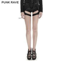 PUNK RAVE frauen Punk Stil Shooter PU Leder Shorts Dünne Persönlichkeit Schwarz Jugend Mädchen Shorts Taschen Dekoration