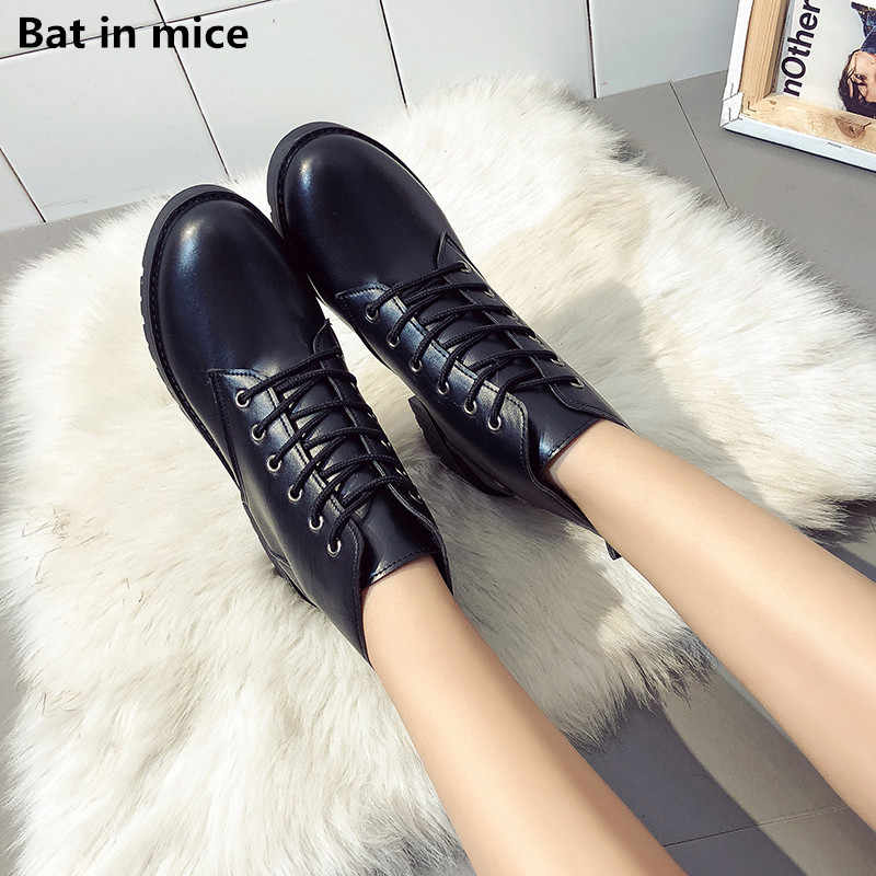 Special price women ankle Boots pu Leather women Comfort Round Toe Casual flas Black warm Martin snow Boots Booties women botas