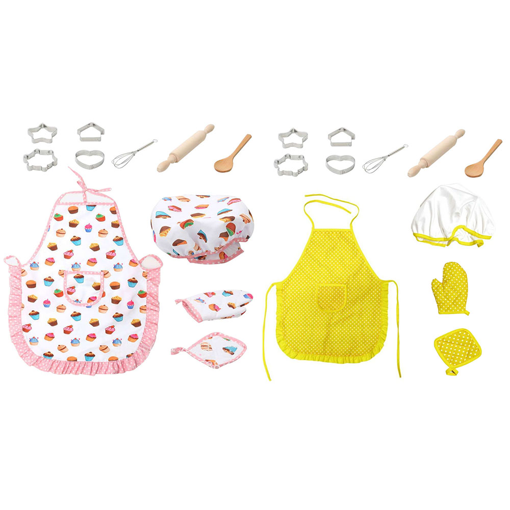 Children Chef Role Play Set Apron Costume Outfit With Cooking Baking Tool Toy For Kid Girl Cookies Toy  Kitchen Pretend Play Toy