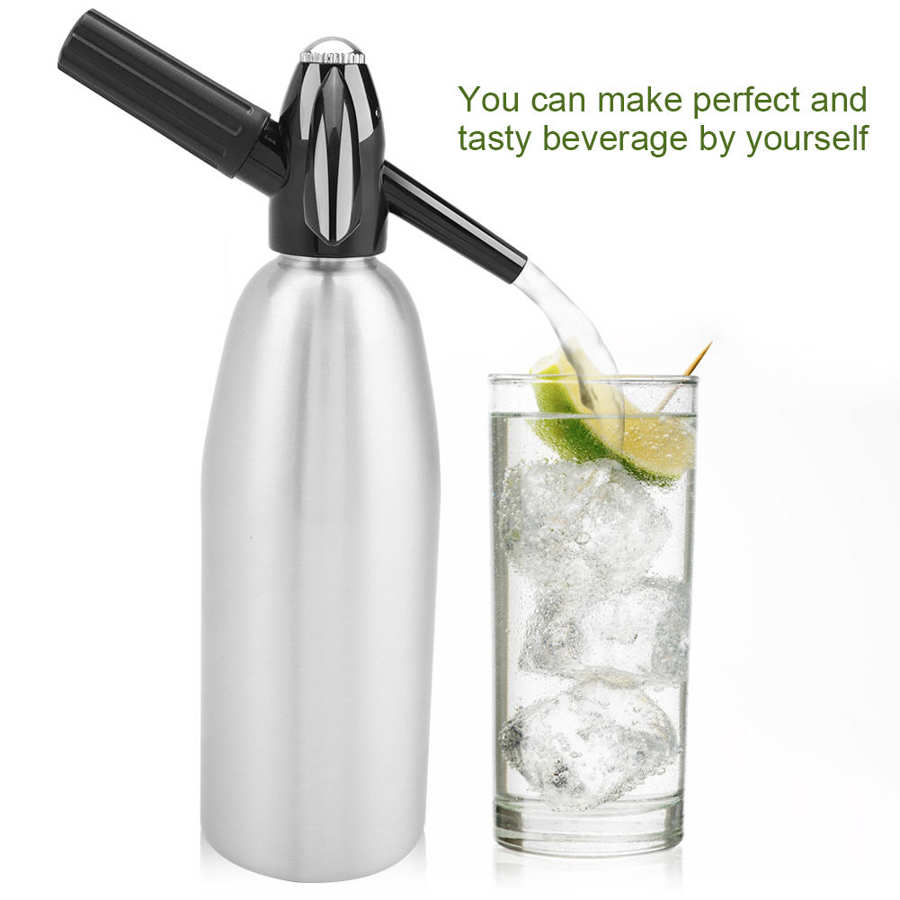 1L Soda Maker Portable Cold Drink Carbonated Bubble Water Machine DIY Cocktail CO2 Soda Siphon Maker with Pressure Regulator