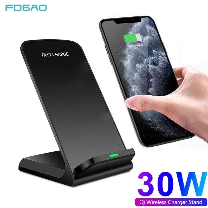 Беспроводное зарядное устройство Qi, 30 Вт, подставка для iPhone 12 11 XS XR X 8, беспроводная док-станция для быстрой зарядки, зарядное устройство для ...