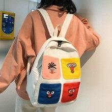 Cartoon Anime Women Backpacks Cute Schoolbags For Teen Girls Harajuku Canvas Panelled Bookbags Travel Tote Backpack