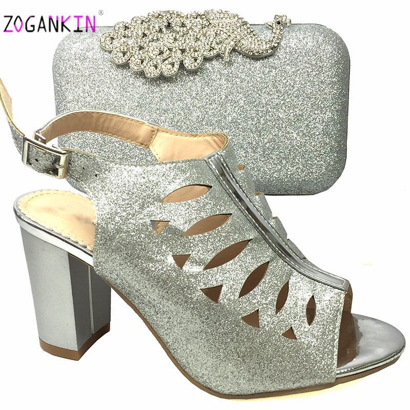 Dernières nigérianes nouveau Design de haute qualité chaussures africaines et sac pour correspondre aux femmes italiennes chaussures assorties et sac ensemble en couleur argent