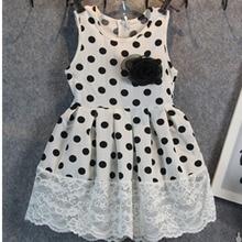 Summer Korean Children's Clothing Girls Dress  Corsage 2pcs Flowers Dot Lace Wave Point Stripe Vest Dress Kid K1