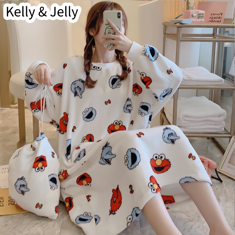 2019 autumn/winter collection of chunky flannel cute girly nightdress cartoon printed coral velvet dress with free storage bag
