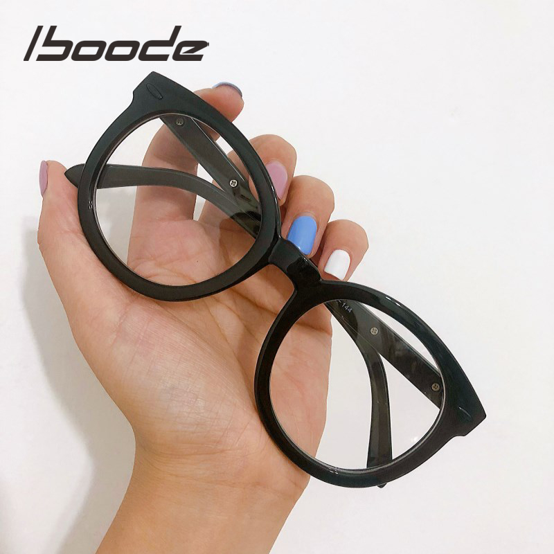 Iboode 2019 Fashion Black Round Eyewear Frame Women Retro Big Optical Glasses Frame For Myopia Women Men Clear Lens Spectacles