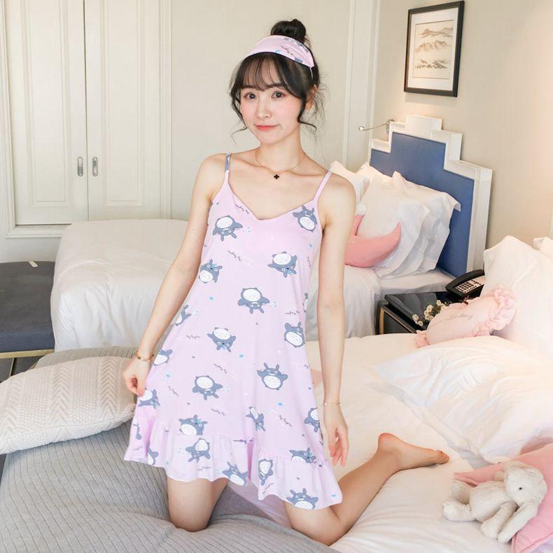 Summer Slip Nightdress Women's Cartoon Totoro Nightgown Women's Summer Thin Large Size Medium-length Dress Nightgown With Eye Pa
