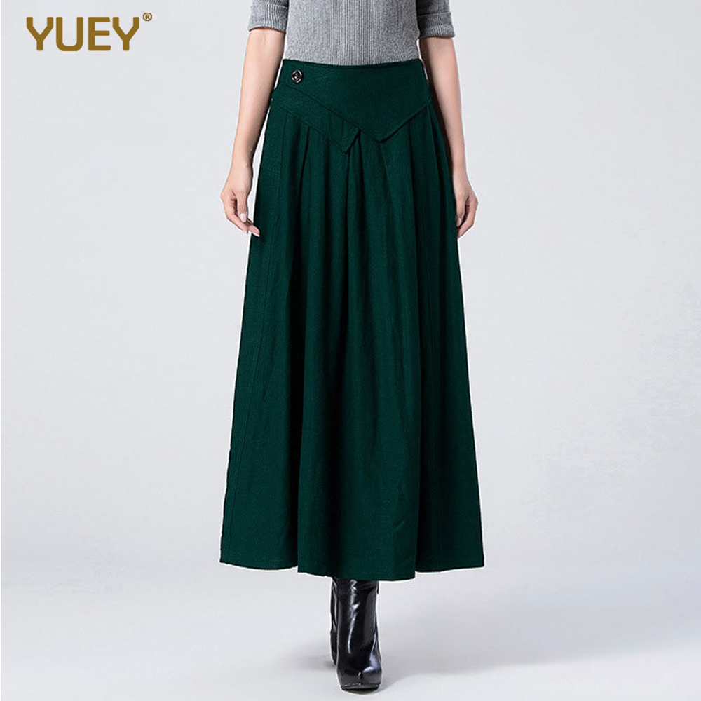YUEY 2020 Spring New Women Linen Baggy Pants Dress Female Solid Color Big Swing Plus Large Size Thick Autumn Winter A Skirt 10XL