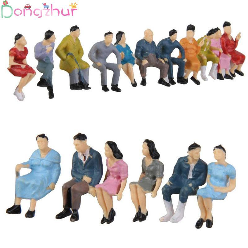 10pcs 1:87 Painted Model People Figure Toys Sand Table Model Sitting Figure Landscape Model Toy For Kids Gift Random Color