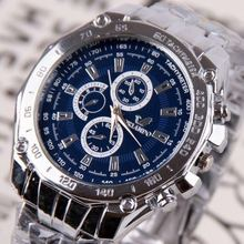 ORIANDO Man Watches Quartz Silver color Stainless Steel Wristwatch Male Fashion