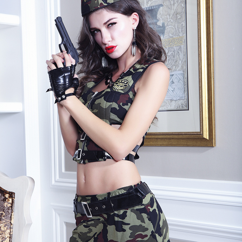 Camouflage Suit Sexy Perspective Camouflage Army Costumes Sex Cosplay Role-playing Fun Police Underwear Uniforms Costume Cosplay