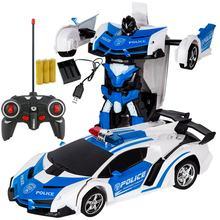 Carro rc transformação robôs modelo de veículo esportivo robôs brinquedos de carregamento sem fio legal deformação carro com bateria crianças brinquedos