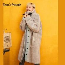 SAM'S TREE/серое однотонное лоскутное прямое флисовое Стеганое теплое пальто для женщин зимняя Свободная Женская верхняя одежда со стоячим воротником