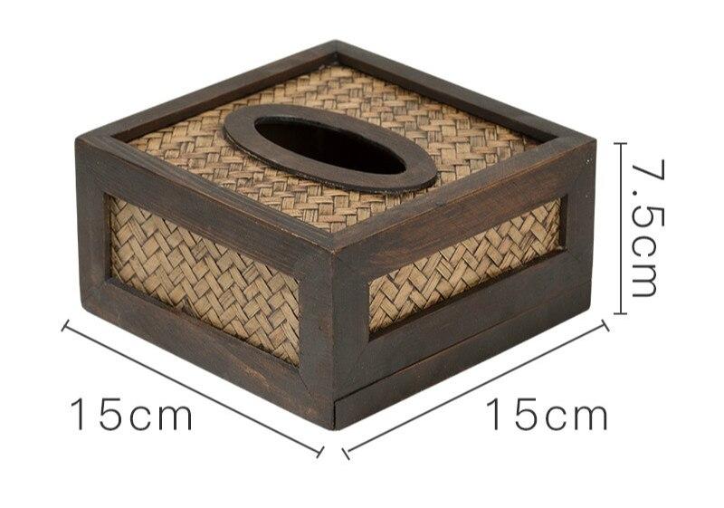 Креативная прочная деревянная гостиная коробка ткани бамбуковый Плетеный лоток Ретро бумажная насосная коробка ротанга деревянный лоток для салфеток WF7261145 - Цвет: A