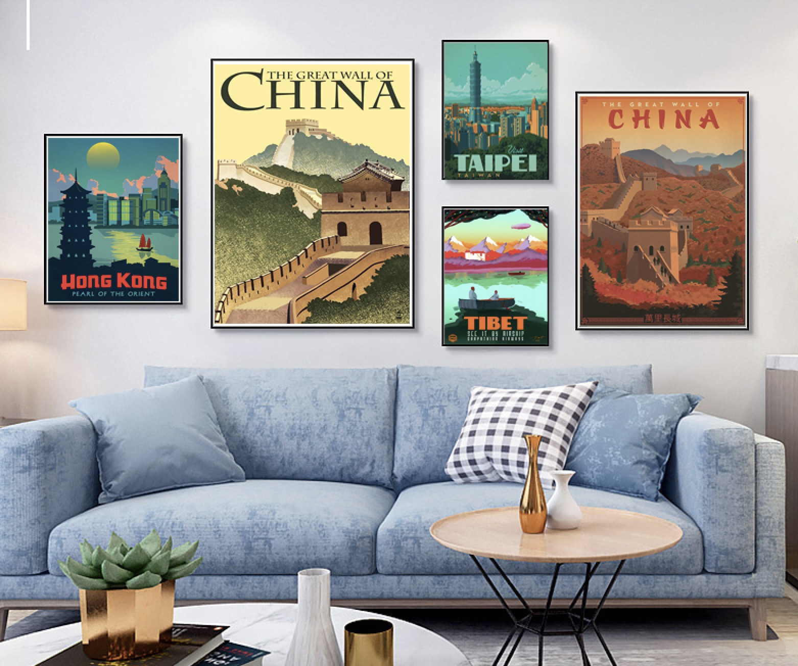 China Travel Great Wall HongKong Tibet Taipei Landscape Scenic Vintage Poster Canvas Painting Wall Art Home Sticker Decor Gift(China)