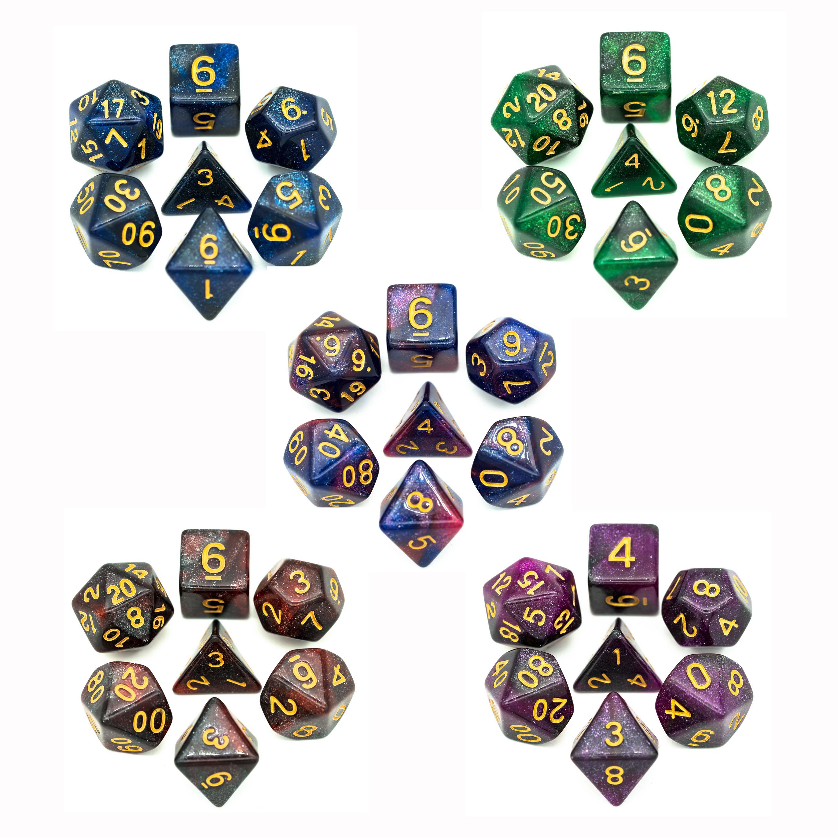 7 pz/set Galaxy DND Dadi D & D Dadi D4 D6 D8 D10 D % D12 D20 Poliedrici Giochi di Dadi set per MTG RPG