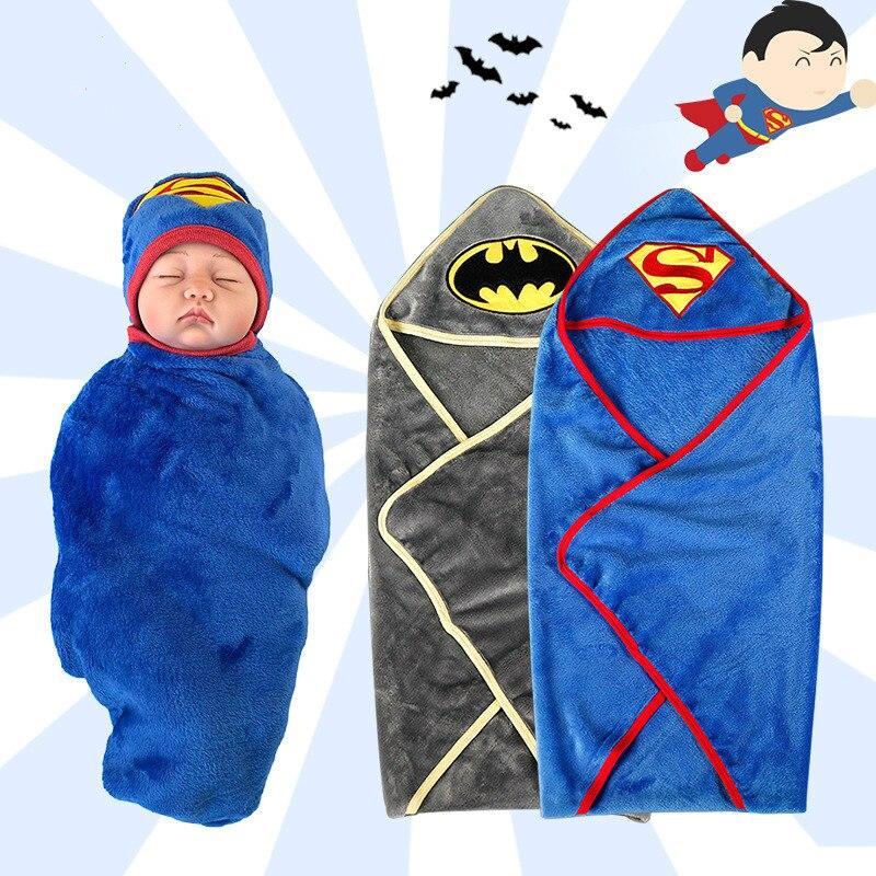 Comfortable Newborn Bathrobe Superman Batman Baby Blanket Swaddling Kids Child Hooded Soft Fleece Bathrobe Toddler Bath Towel