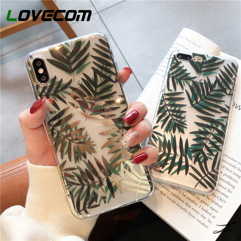 LOVECOM Gold Bronzing Flower Leaf Phone Case For IPhone 11 Pro Max XR XS Max 7 8 6 6S Plus X Soft Silicone Clear Back Cover Gift