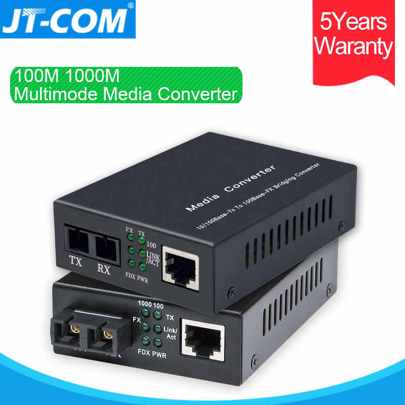 Convertidor de medios Ethernet multimodo 100 M/1000 M de Fibra óptica a RJ45 Gigabit MM Duplex Fibra Optica Switch transceptor FTTH 850nm