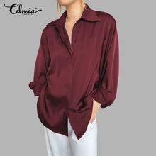 Celmiaトップファッション女性の長袖サテンslikブラウスエレガントなolシャツ2021春カジュアルラペルルースソリッドblusas feminina