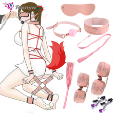 Handcuffs  Ankle Cuffs Flogger Whip Eye Mask BDSM Bondage Flirting For Adults Couples Slave Restraints Games Erotic Accessories