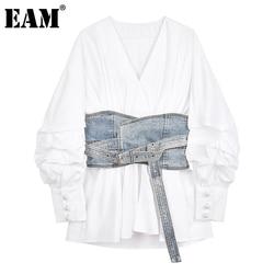 [EAM] Women White Denim Split Temperament Blouse New Lapel Long Lantern Sleeve Loose Fit Shirt Fashion Spring Autumn 2021 1Z942