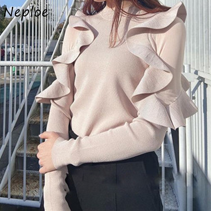 Kuzuwata O Neck Pullover Long Sleeve Knit Sweater Women Ruffles Patchwork Slim Fit Pull Femme Spring 2021 New Sueter Mujer