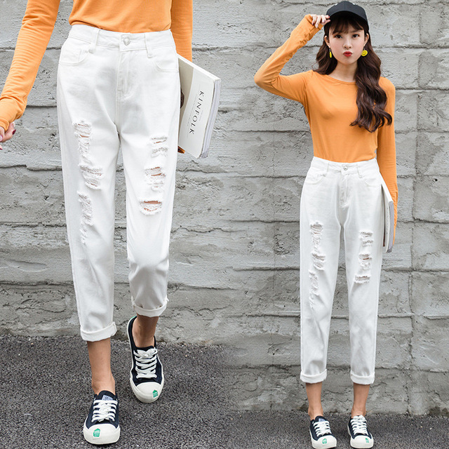 Mom Jeans Denim Crop Ankle Length White Black High Waisted Ripped Jeans For Women Vintage Ladies Boyfriend Baggy Loose Pants 019 3