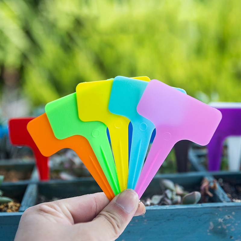 50pcs Plastic Plant Labels Garden Markers T-Type Plant Tags For Gardening Sorting Sign Tag Durable Multi-Color High Quality