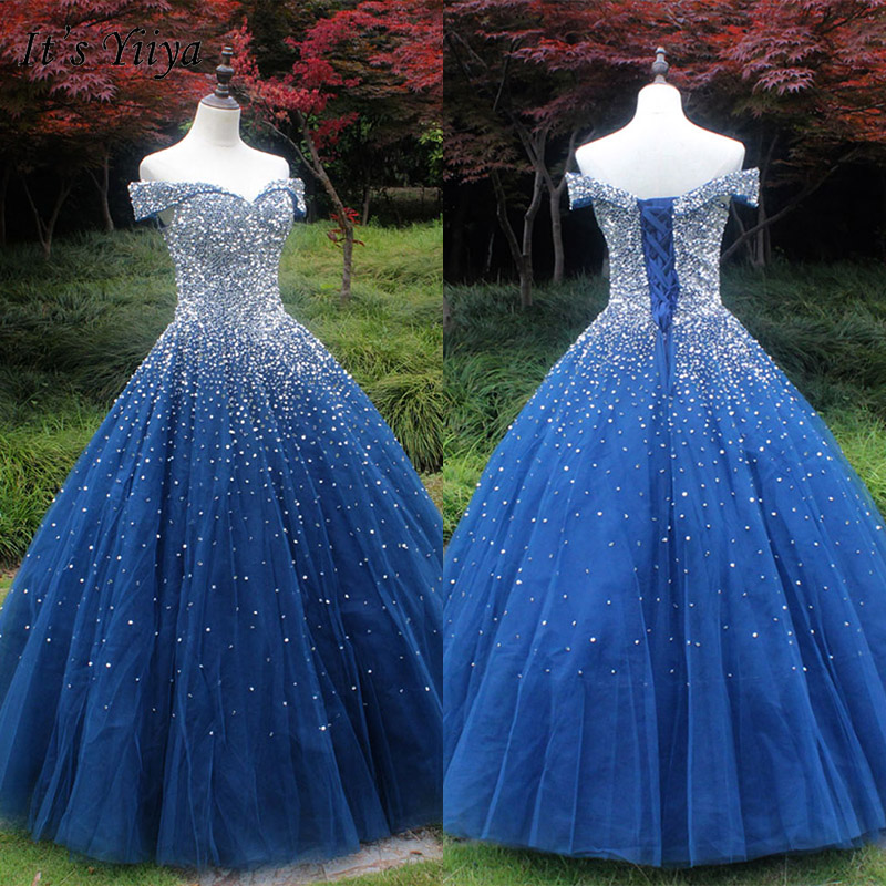 It's Yiiya Evening Dress 2019 Backless Lace Up Boat Neck Off Shoulder Luxury Ball Gowns Sequins Women Party Robe De Soiree E1035