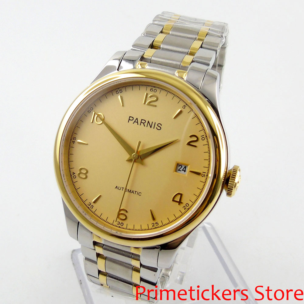 38mm PARNIS golden dial sapphire glass automatic mens watch date stainless steel strap image