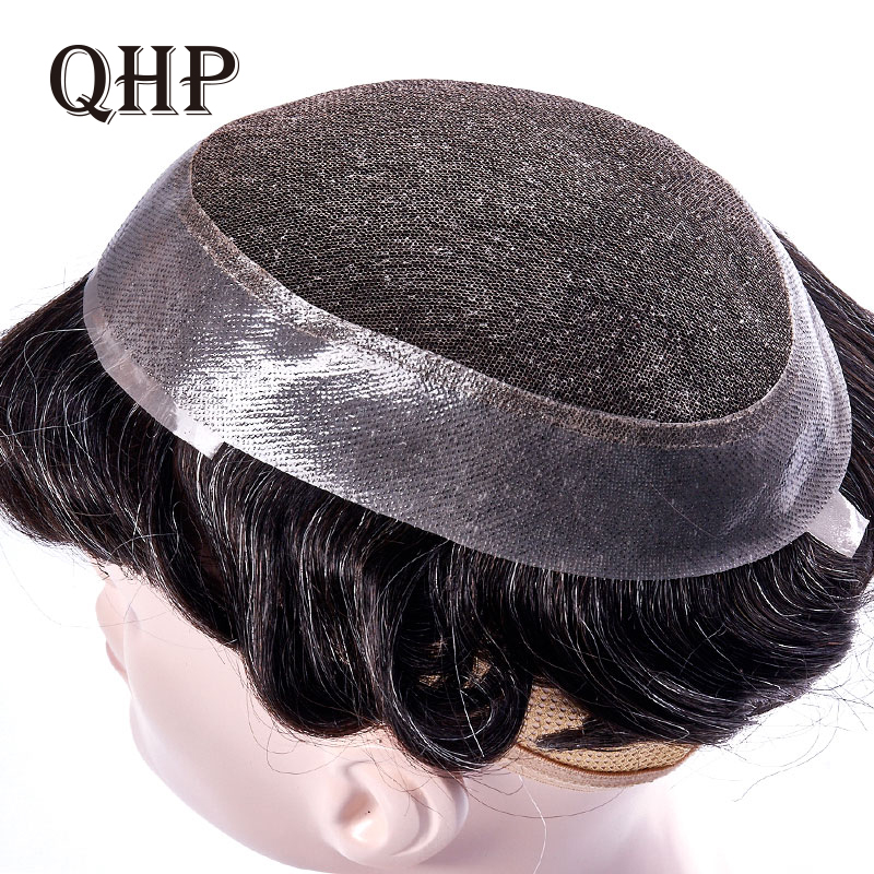 Men's Toupee Swiss Lace And PU Hair Replacement Systems Handmade  Wig Natural Remy  6inch Indian Human Hair For Men