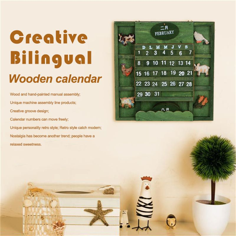 Retro Rustic Creative Bilingual Furniture Mediterranean Can Hang Wood Manual Calendar Calendar Crafts