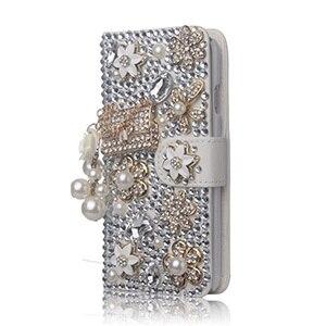 Image 2 - Luxus Bling Handmade Glitter Strass Perle Leder Flip Brieftasche Schutzhülle Für Samsung S10 S9 S20 S8 Plus Note10 9 8