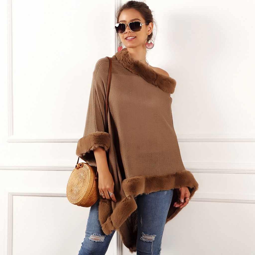 Ücretsiz devekuşu moda kadın sonbahar ve kış pelerin rahat düzensiz kazak kişilik üst kazak yüksek yaka pelerin kazak