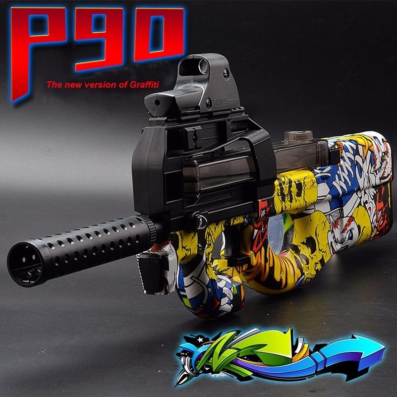 Electric P90 Toy Gun Graffiti Soft Water Gel Ball Gun Toy Gun Outdoor CS Assault Battle Sniper Toy Weapon Grandson Nephew Gifts