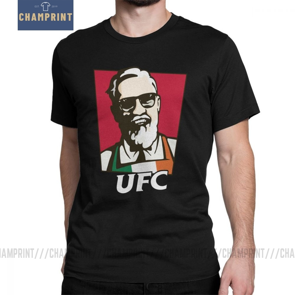 The King Conor Mcgregor MMA KFC Creative Hipster T Shirt For Men Short Sleeved Tops Grey Tees Pure Cotton Crewneck T-Shirts