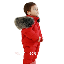-30 Degree Thick Warm Kids Baby Snowsuit Real Large Fur Collar White Duck Down Filling 0-4 Years Toddler Boys Girls Down Rompers