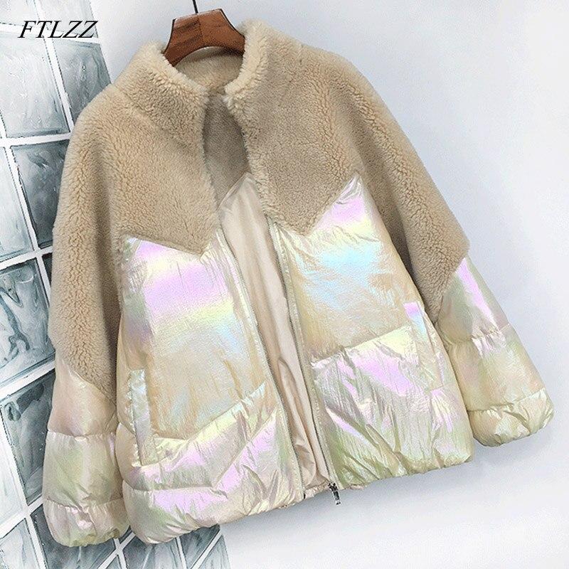 FTLZZ Winter White Duck   Down   Jacket Women Patchwork Lambswool Bright Side   Down   Parkas Female Thicken Warm Short   Coat