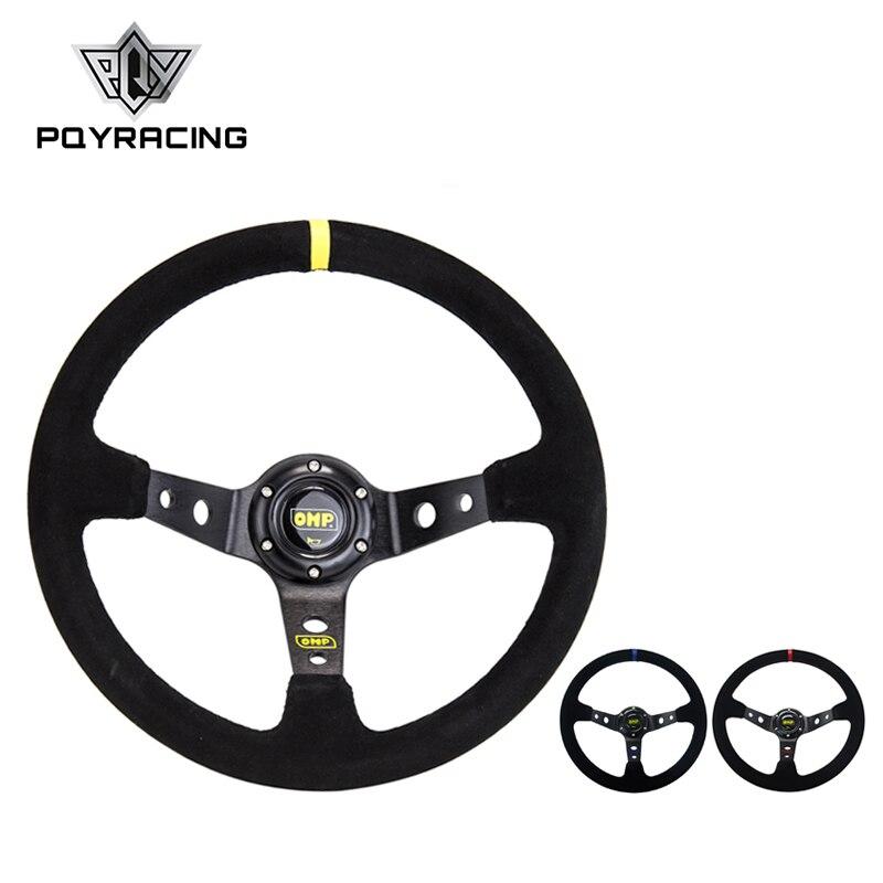 14 polegadas 350mm omp profunda milho deriva camurça volante de couro/universal carro volante corrida automóvel 3/cores PQY-SW21