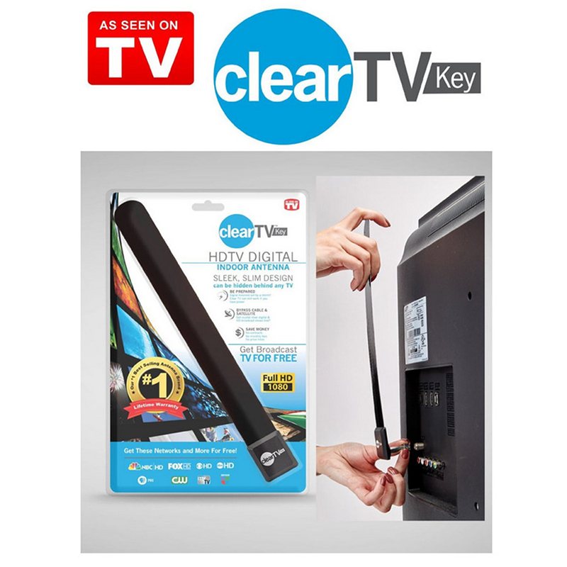 TOP Clear TV-Key HDTV FREE TV Digital Indoor Antenna Ditch Cable Black PortableDigital Aerial  For Dropping TSLM1