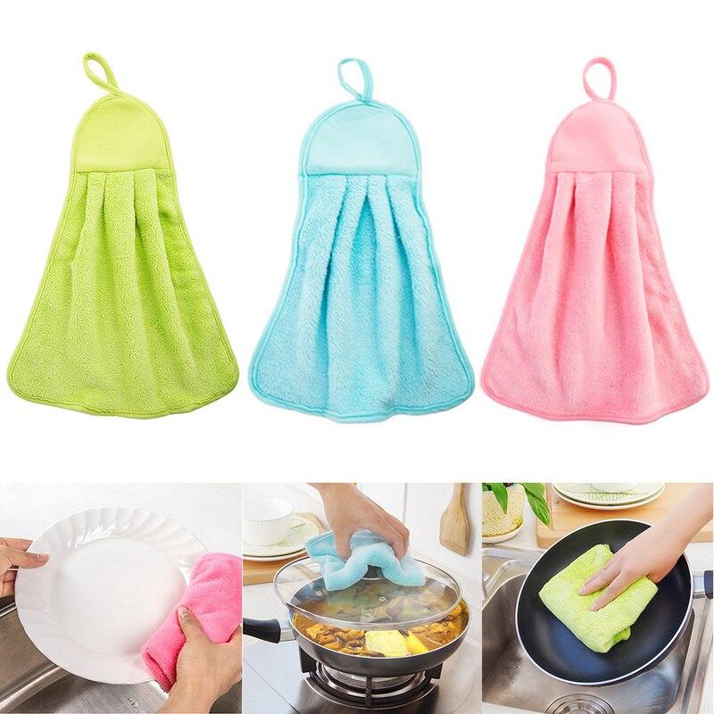 1Pc Creative Coral Velvet Bathroom Towel Clean Kitchen Towel Absorbent Dishcloth Kitchen Gadget Durable Hanging Towel