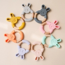 1Pc Infant Teething Rings Animal Silicone With Wooden Rabbit Silicone Baby Fidget Toys Food Grade Nurse Accessories Chew Product