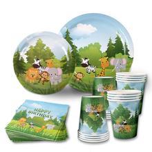 Huiran vaisselle jetable pour enfants, fournitures décoratives pour fêtes avec animaux à la ferme, assiettes en papier, décorations pour fêtes danniversaire